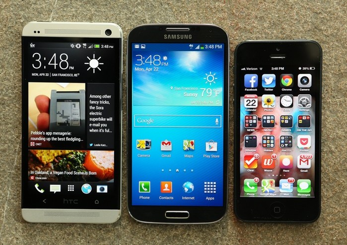 HTC One, Samsung Galaxy S4 и Apple iPhone 5