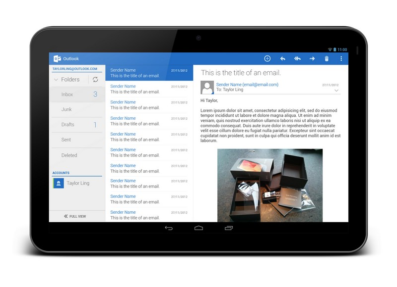 Outlook на Android-планшете