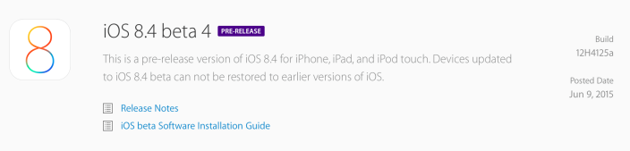Apple iOS 8.4 beta 4