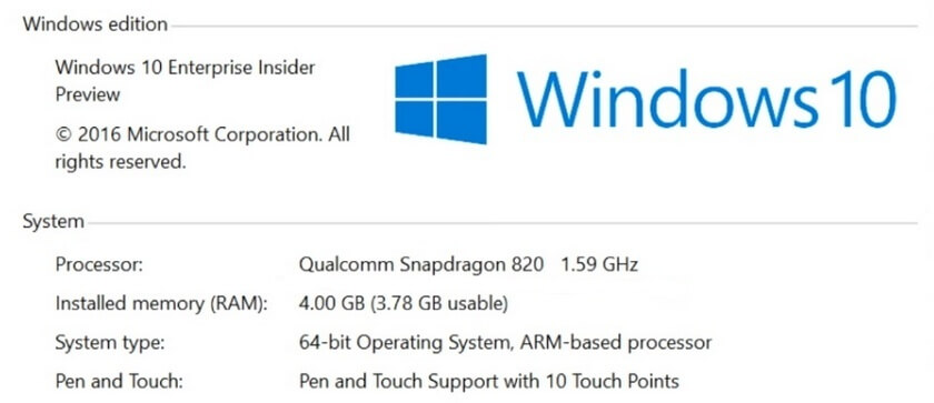 Windows 10 for Qualcomm