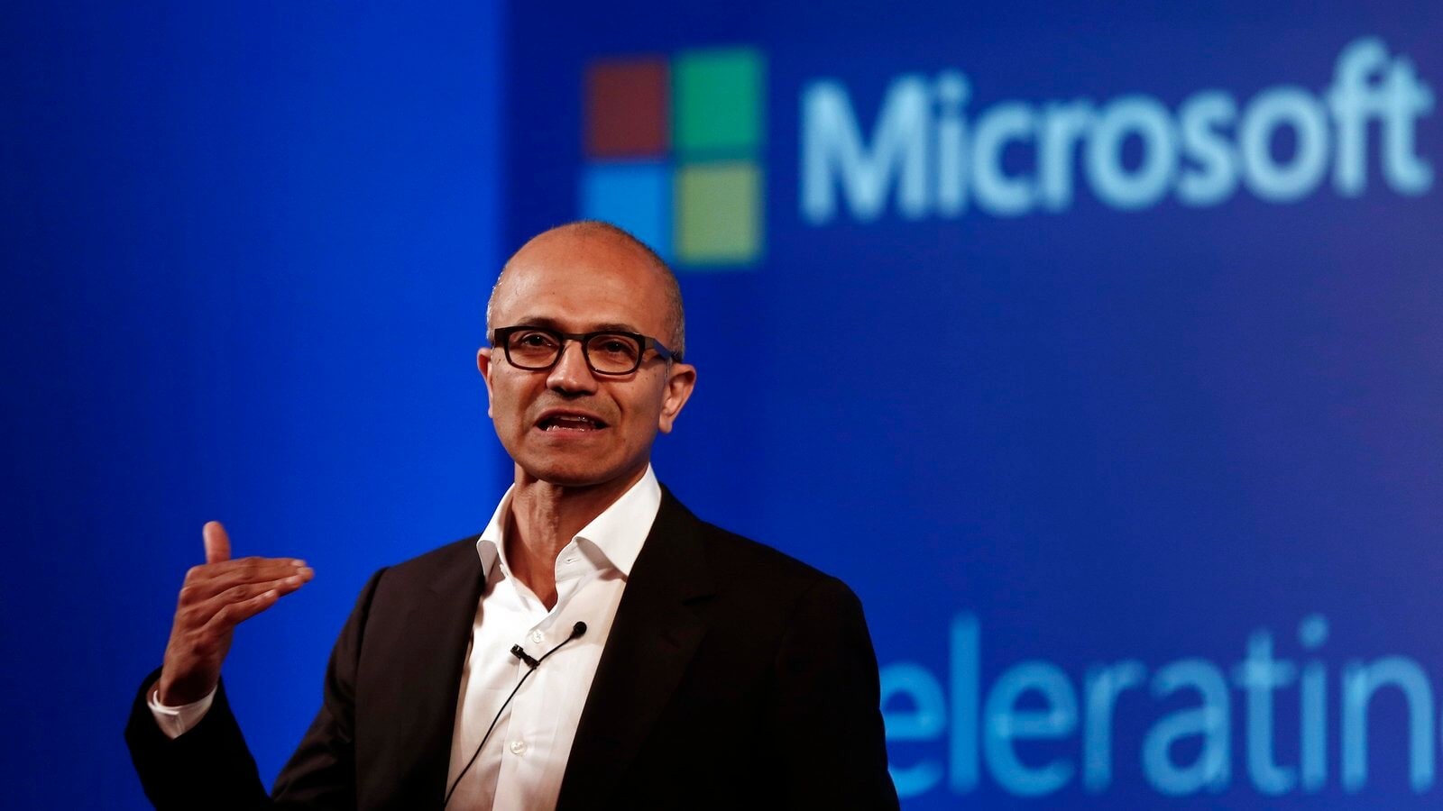 Microsoft CEO Nadella addresses the media during an event in New Delhi