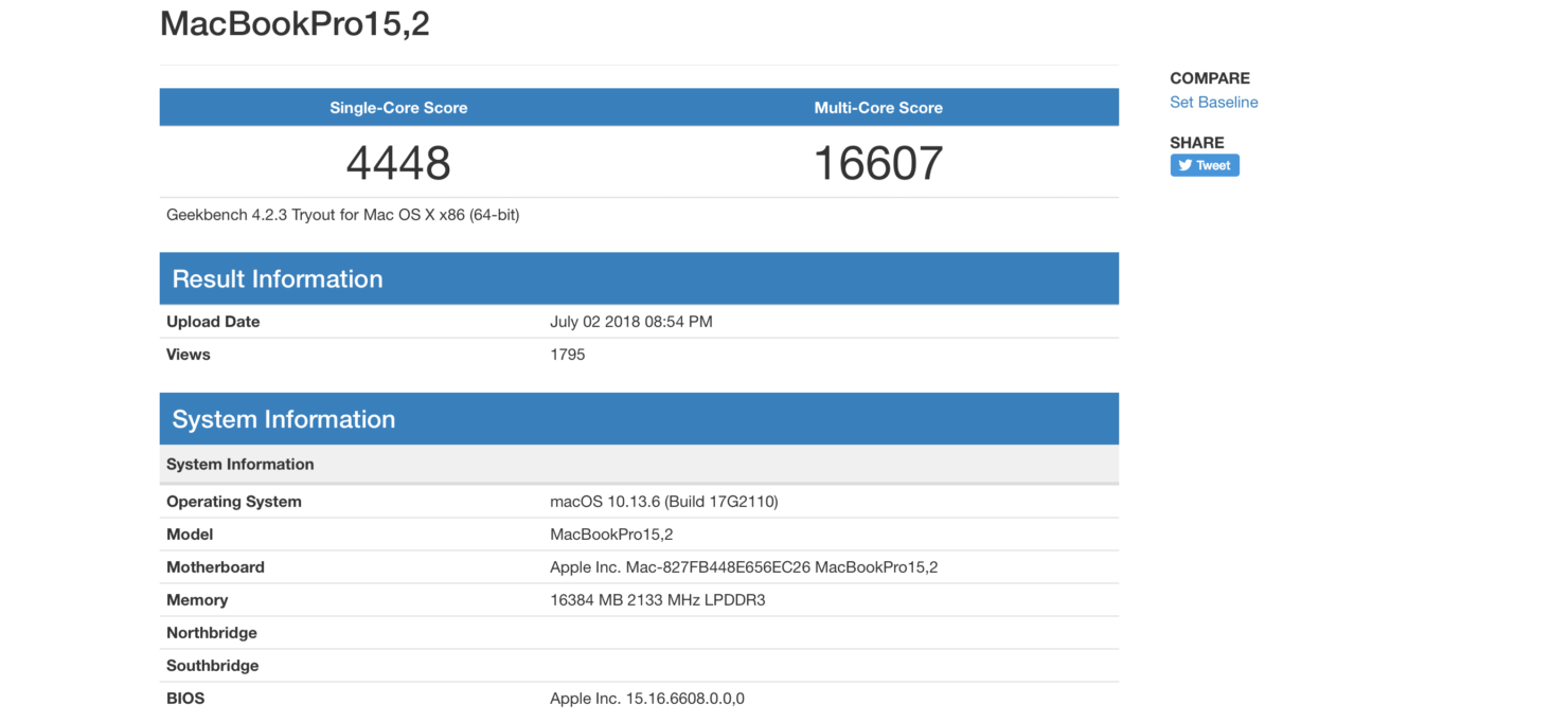 MacBook Pro GeekBench