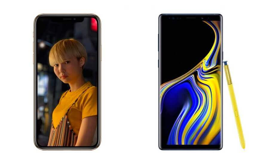 iPhone Xs Max и Galaxy Note 9