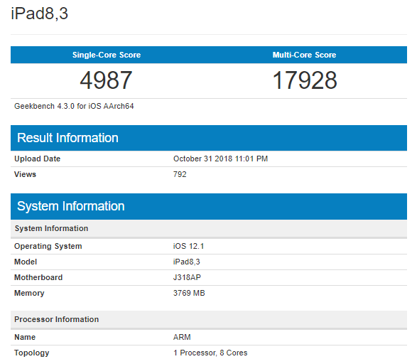 Apple A12X Bionic GeekBench