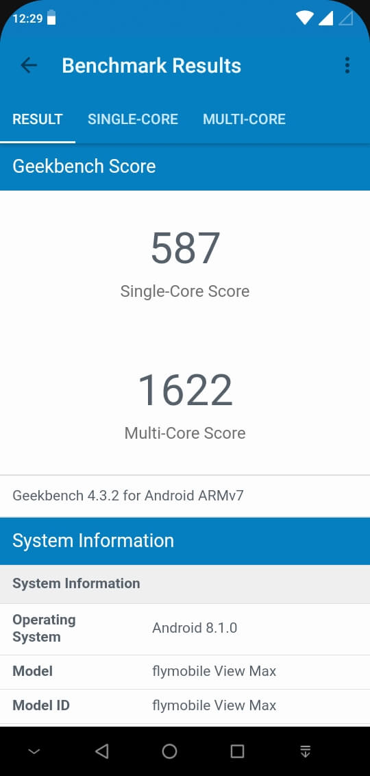 Fly View Max Geekbench 4