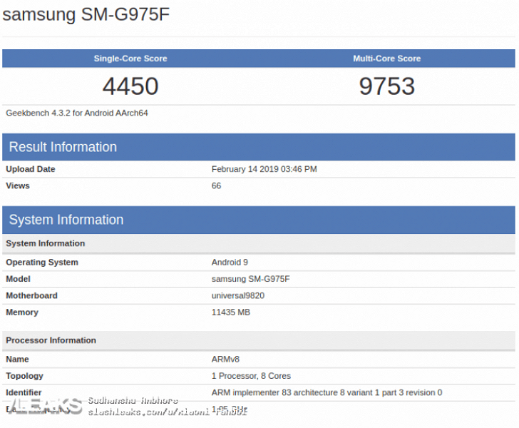 S10 Plus Geekbench