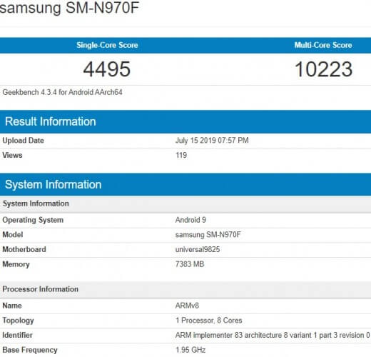 Galaxy Note10 Geekbench